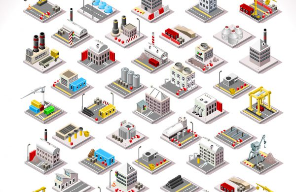 Isometric,Factory,Power,Energy,Plant,Urban,Farm,Oil,Industry,Nuclear